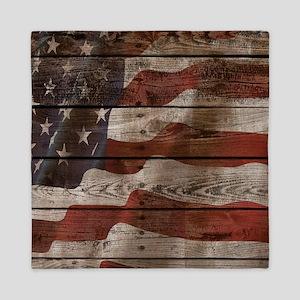 American Flag Wood Boards Queen Duvet