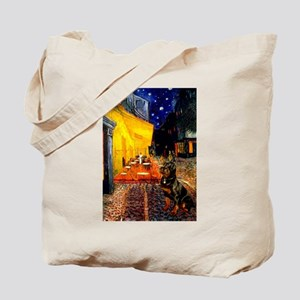 Cafe with Rottie Tote Bag