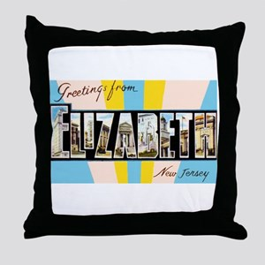 Elizabeth New Jersey Greetings Throw Pillow