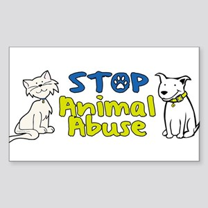 Stop Animal Abuse Rectangle Sticker