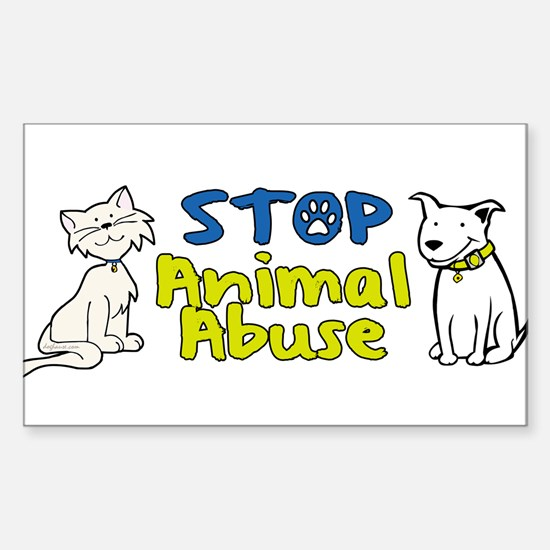 Stop Animal Abuse Rectangle Decal