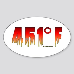 451 Degrees Fahrenheit Oval Sticker