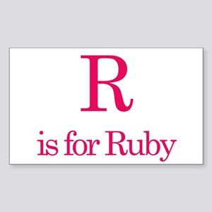 R is for Ruby Rectangle Sticker