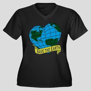 Save the Earth Women's Plus Size V-Neck Dark T-Shi