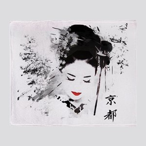 Kyoto Geisha Throw Blanket