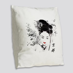 Kyoto Geisha Burlap Throw Pillow