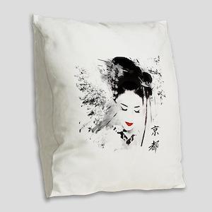 Kyoto Geisha Burlap Throw Pillow