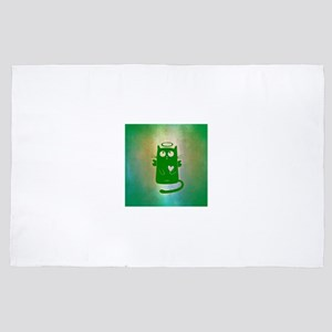 Green Pastel Angel Cat 4' x 6' Rug