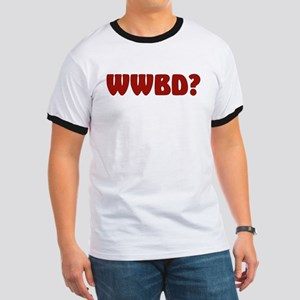 """Simple red """"WWBD?"""" Ringer T"""