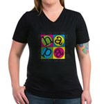 A Hip Hip Hapa In A Women's V-Neck Dark T-Shir