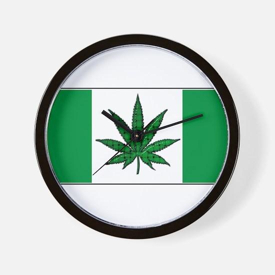 Marijuana Green  Canadian Fla Wall Clock