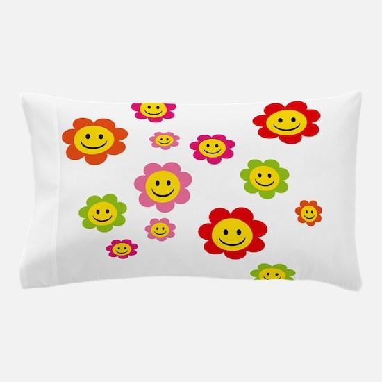 Flower Power smiley Pillow Case