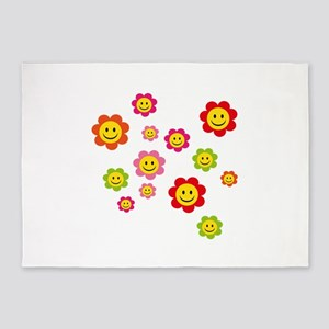 Flower Power smiley 5'x7'Area Rug