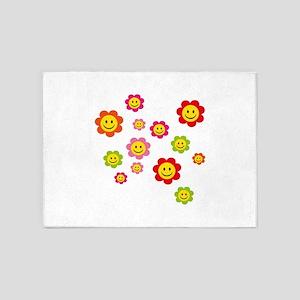 Flower Power smiley 5'x7'Area Rug