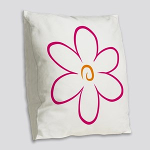 flower Burlap Throw Pillow