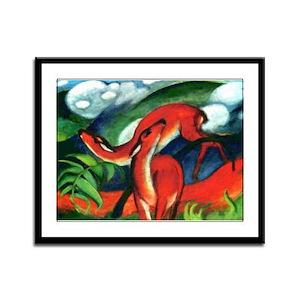 Red Deer by Franz Marc Framed Panel Print