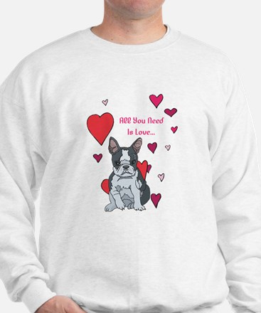 All You Need Is Love Boston Terrier Sweater