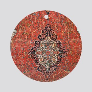 Red Vintage Persian Antique Rug Round Ornament