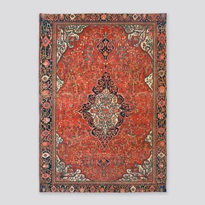 Red Vintage Persian Antique Rug 5'x7'area