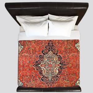 Red Vintage Persian Antique Rug King Duvet