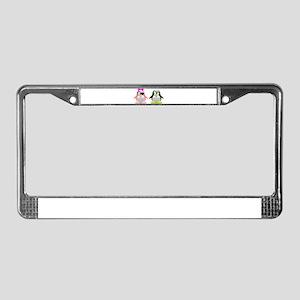 Flirty Penguins License Plate Frame