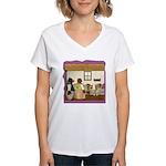 Goldilocks & The 3 Bears Women's V-Neck T-Shirt