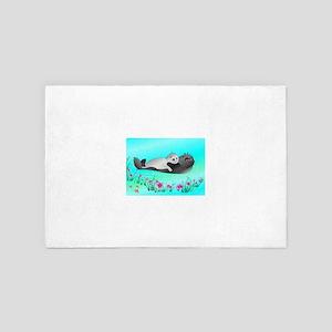 Animated Hugging Otters 4' x 6' Rug