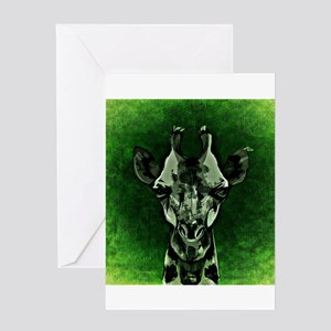 Green Textured Giraffe Greeting Cards