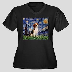 Starry Night / Beagle Women's Plus Size V-Neck Dar