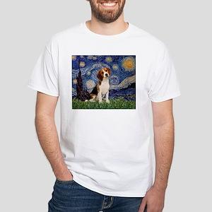 Starry Night / Beagle White T-Shirt