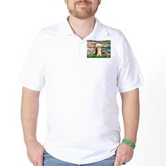 Lilies / Bearded Collie Golf Shirt