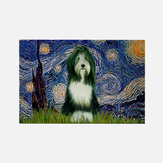 Starry Night /Bearded Collie Rectangle Magnet
