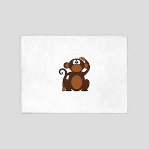 Construction Paper Monkey 5'x7'Area Rug