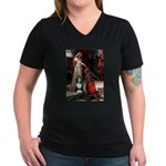Accolade / Bearded Collie Women's V-Neck Dark T-Sh