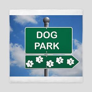 Dog Park Paw Sign Queen Duvet