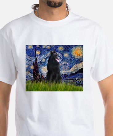 Starry Night /Belgian Sheepdog White T-Shirt