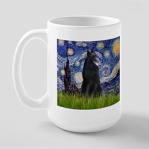 Starry Night /Belgian Sheepdog Large Mug