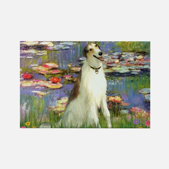 Borzoi in Monet's Lilies Rectangle Magnet