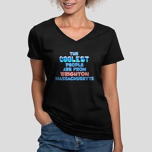 Coolest: Brighton, MA Women's V-Neck Dark T-Shirt