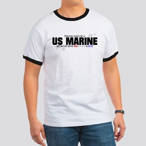 Red, white & blue USMC Dad Ringer T