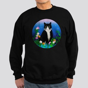Tuxedo Cat among the Flower Sweatshirt