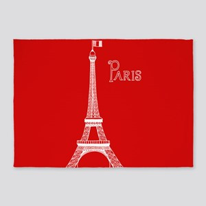 EIFFEL TOWER RED WHITE 1 5'x7'Area Rug
