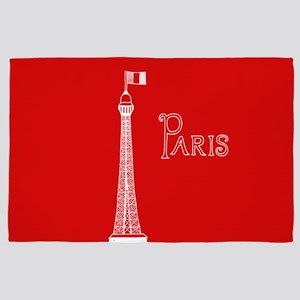 EIFFEL TOWER RED WHITE 1 4' x 6' Rug