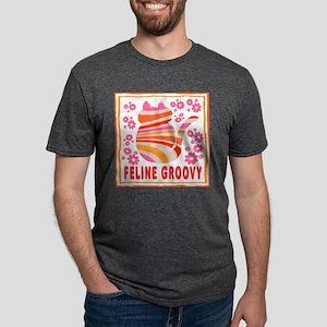 Feline Groovy (orange/pink) Ash Grey T-Shirt
