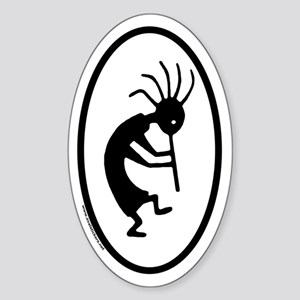 Kokopelli Euro Style Oval Sticker (Right)