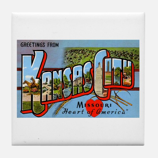 Kansas City Missouri Greetings Tile Coaster