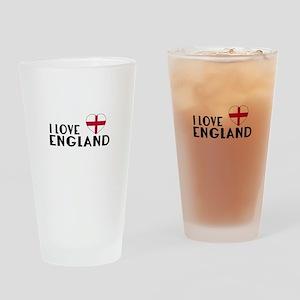 I Love England Drinking Glass