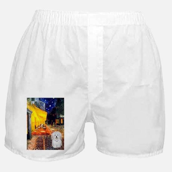 Cafe with Coton de Tulear Boxer Shorts