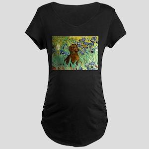 Irises & Dachshund Maternity Dark T-Shirt