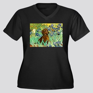 Irises & Dachshund Women's Plus Size V-Neck Dark T